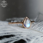 Engagement Ring Rose gold Pear Shaped Moonstone bezel set Simple wedding women bridal ring Birthstone Jewelry Modern Promise Anniversary