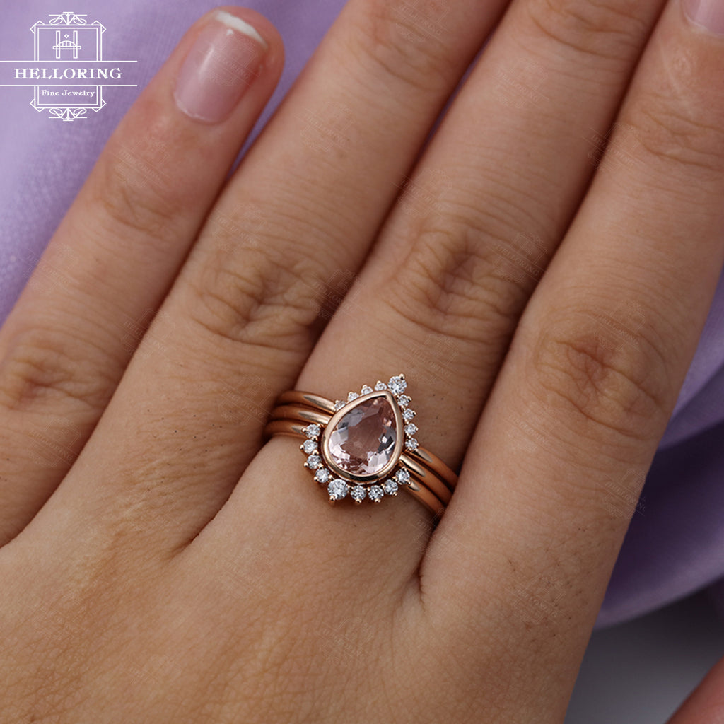 3pcs Morganite Engagement Ring Vintage Rose Gold Diamond Wedding band Women Antique Bridal set Jewelry Pear Shaped Stacking Anniversary gift