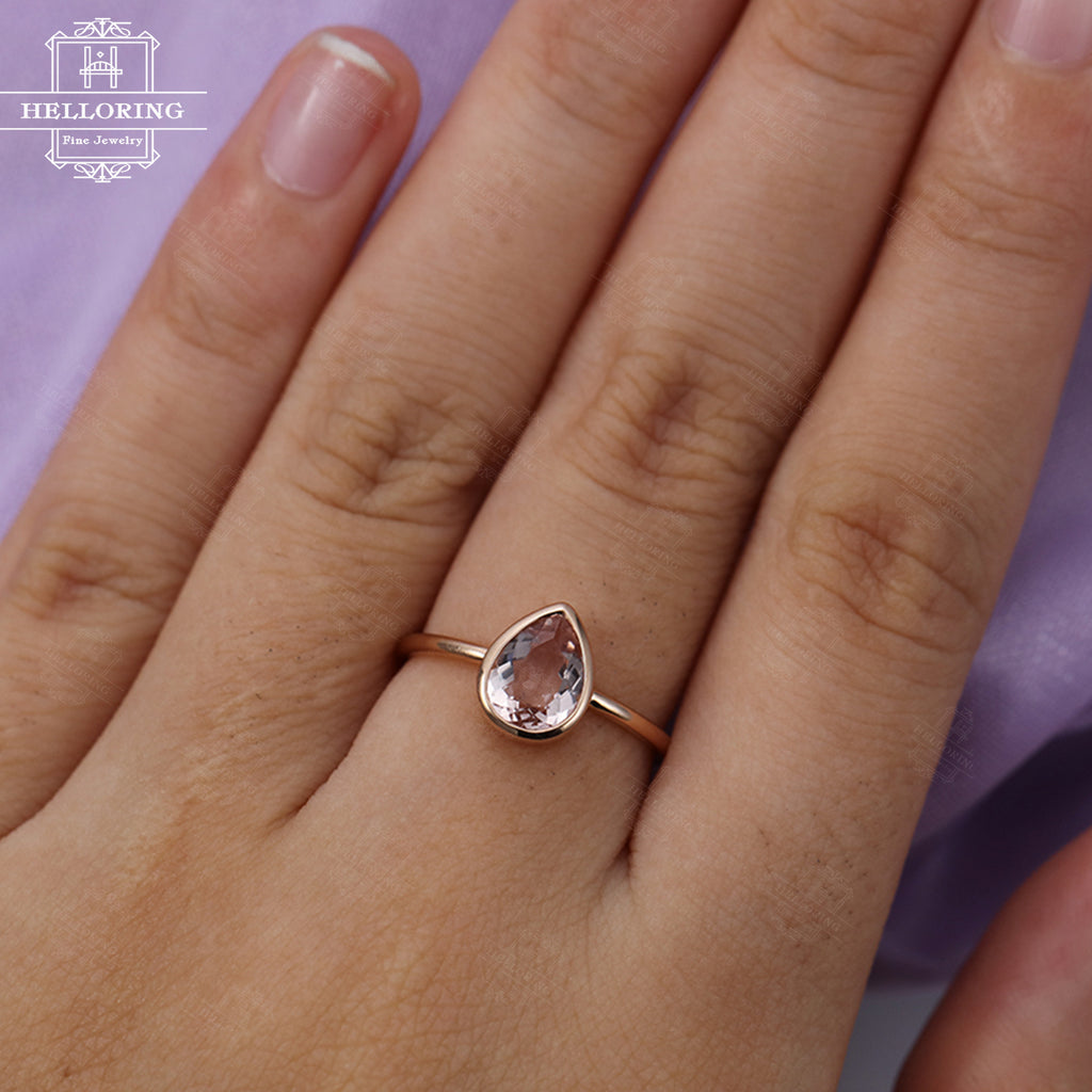Morganite engagement ring Pear shaped engagement ring Rose gold Women Wedding Solitaire Art deco Bridal set Jewelry Anniversary gift for her