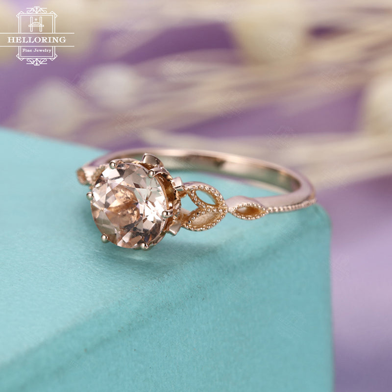 Morganite ring Unique Vintage engagement ring Rose gold Antique Art deco diamond wedding Flower Bridal Jewelry Promise Gift for women