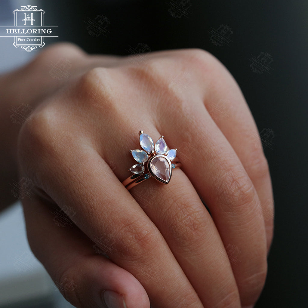 Rose quartz engagement ring set Moonstone wedding band 14k Rose gold/ Size 7. Topaz Pear shaped Marquise cut ring