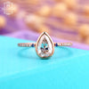 Vintage Moissanite Engagement ring, delicate sapphire ruby rose gold ring for women