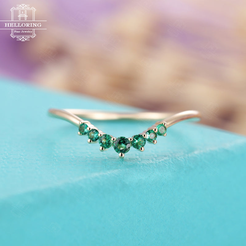 Emerald Wedding band, yellow gold women, vintage curved wedding band,Matching Stacking Promise Simple Jewelry Anniversary gifts for her