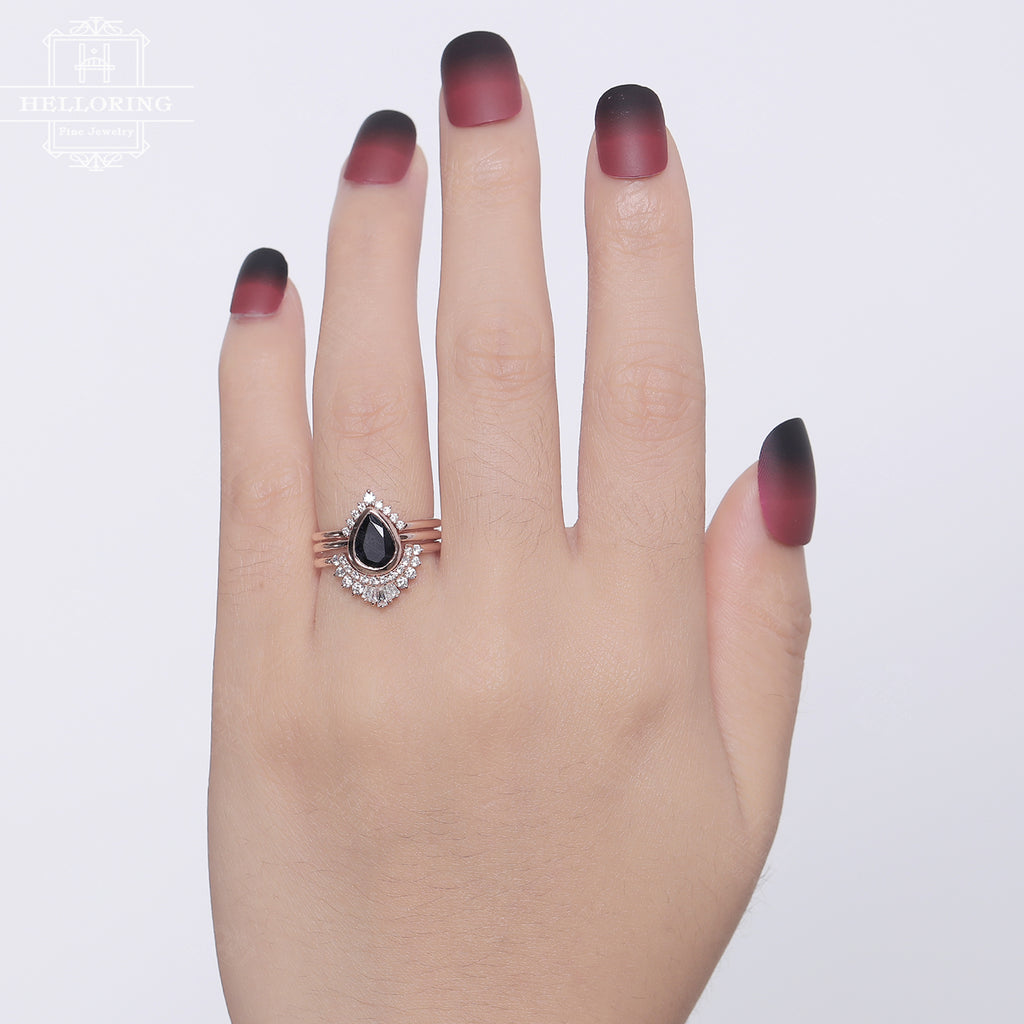 3PCs Black Sapphire Engagement ring set Rose gold Vintage Diamond Wedding band Curved Pear shaped Baguette cut Jewelry Gift for her