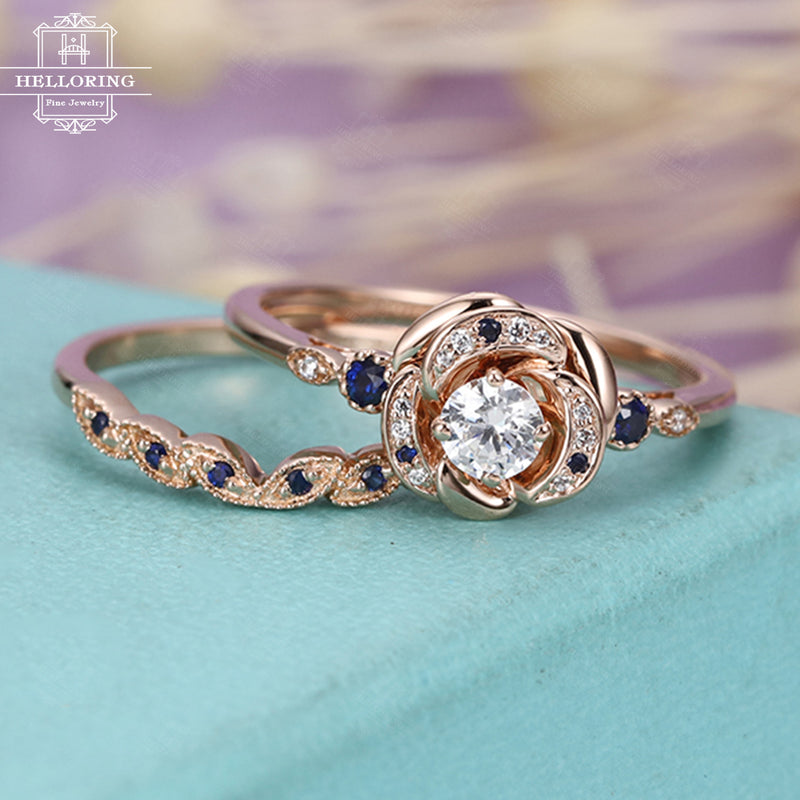 Art deco engagement ring,moissanite sapphire diamond ring rose gold,Vintage Wedding band,Anniversary gift for Women,Unique Jewelry,Flower