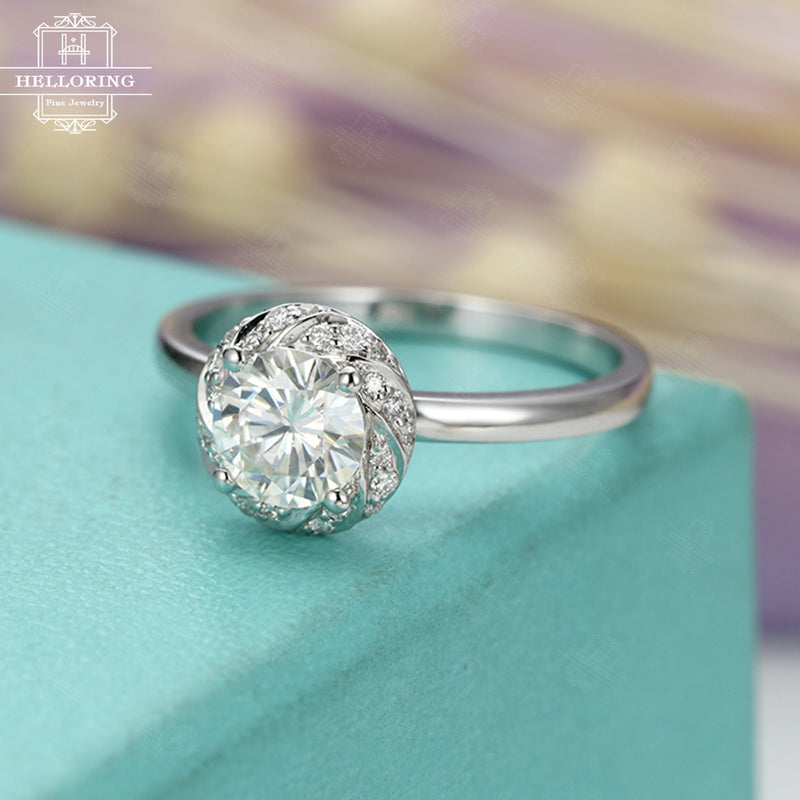 White gold engagement ring with a Moissanite,Vintage ring,Unique jewelry for women, Halo diamond ring,Half eternity Micro pave,gifts for her