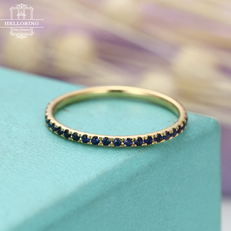 Eternity band Sapphire Wedding Band women white Gold Thin Dainty stacking matching Everyday rings promise birthstone simple Pave Anniversary