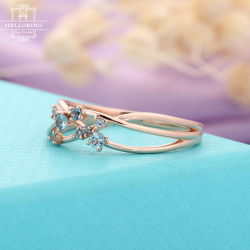 Aquamarine Cluster ring Twig Engagement Ring Rose Gold Floral Unique Wedding Women Bridal Jewelry Twisted Flower Mini Promise Anniversary
