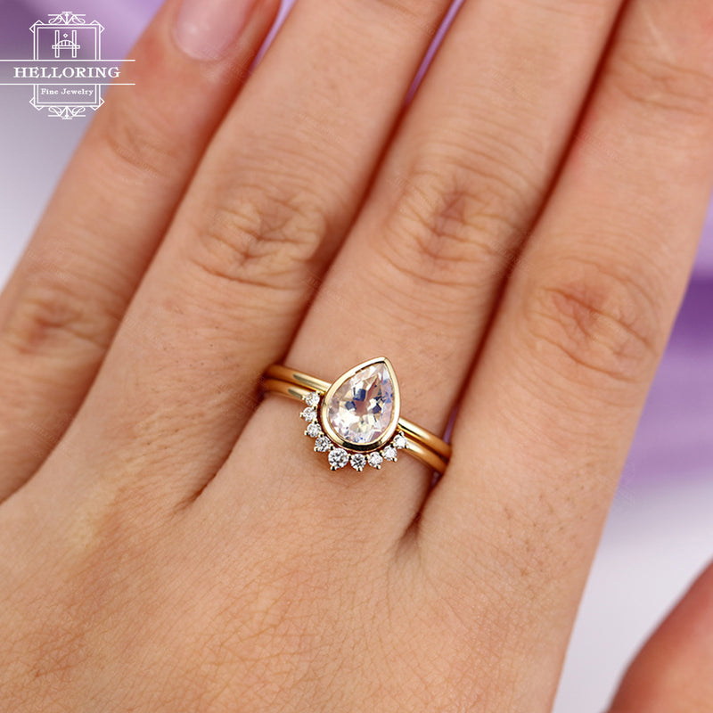 Engagement Ring Gold Moonstone ring Vintage Delicate Diamond Wedding Bridal set Birthstone jewelry Pear Shaped Cut Stacking drop