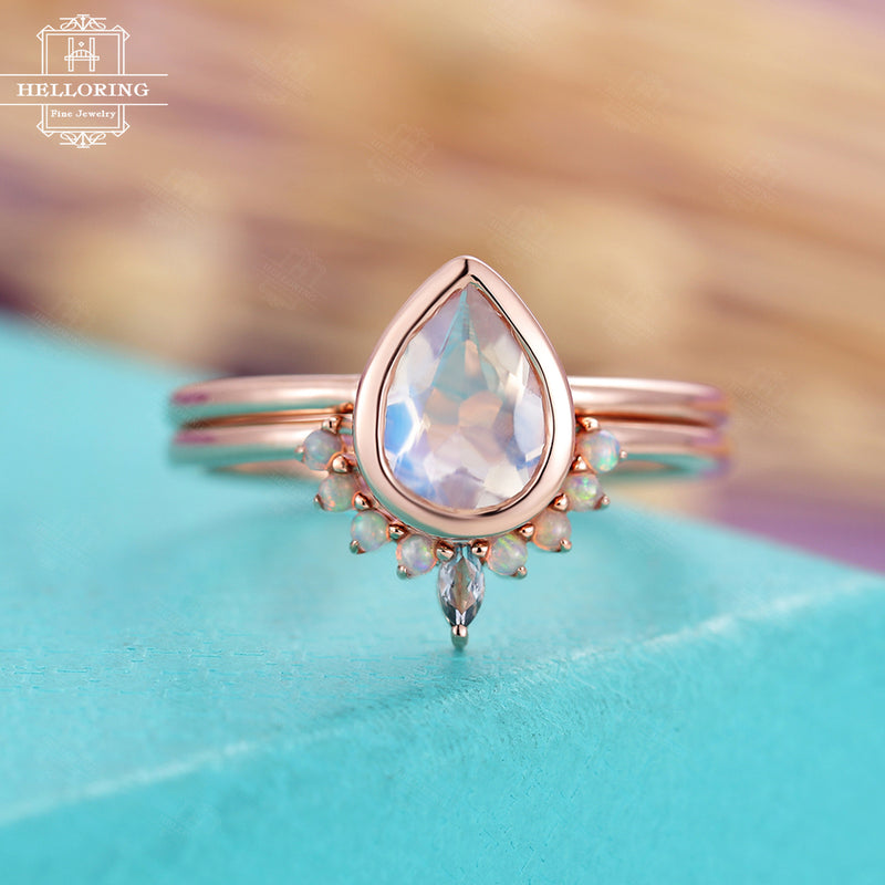 Moonstone engagement ring set, solid white gold women, Opal Marquise cut Diamond Wedding band, vintage Jewelry Anniversary gifts for her