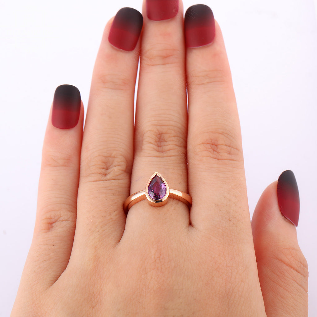 Amethyst engagement ring rose gold women,Solitaire wedding ring,Unique Pear shaped Jewelry,Anniversary gift for her,valentines day bezel set