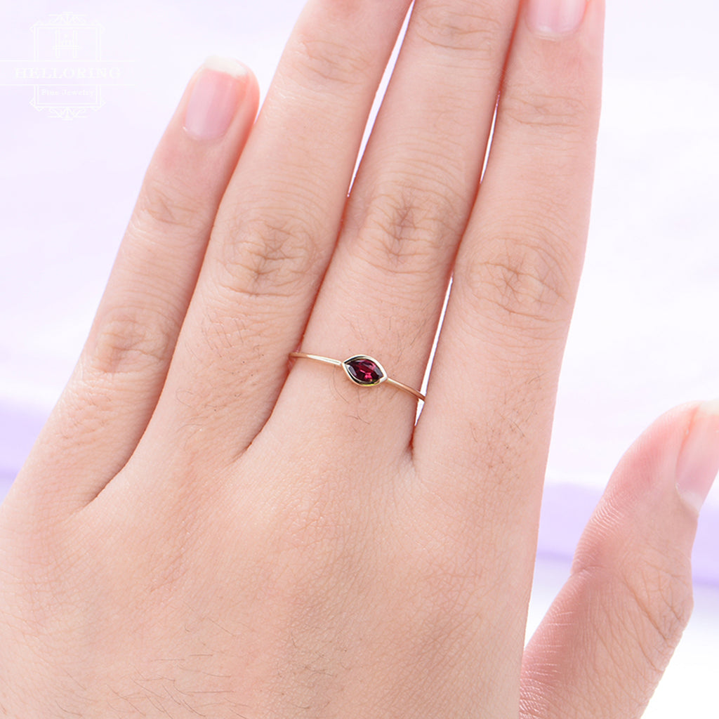 Ruby Engagement Ring rose gold marquise simple Minimalist Wedding birthstone antique Bridal set Woman Anniversary gift for her stack ring