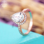 Moissanite engagement ring, Pear shaped rose gold ring, Halo diamond ring, Unique Anniversary gifts for her, Half eternity, rings for Women