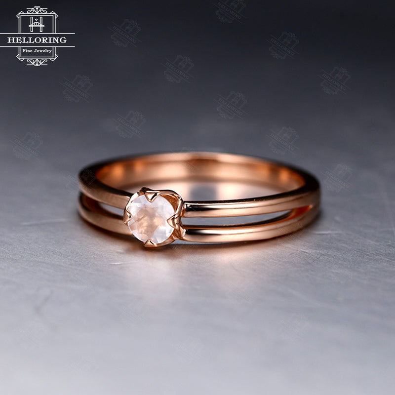 Moonstone engagement ring Rose gold Solitaire engagement ring Women Wedding Unique Simple Bridal Jewelry Anniversary gift for her Birthstone