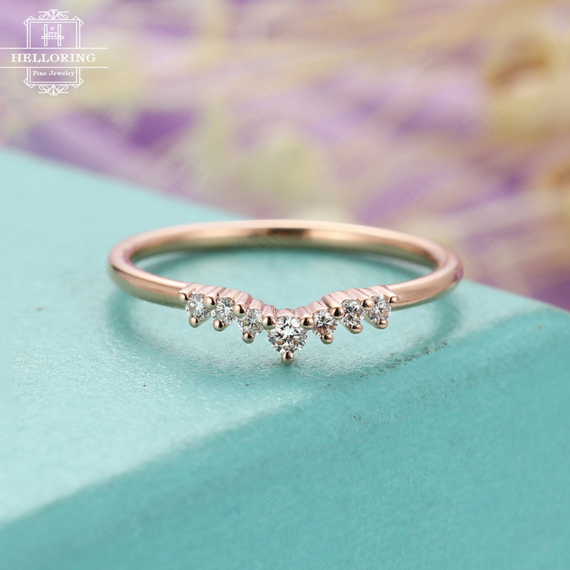 Rose gold wedding band Moissanite wedding band Women Curved Unique Matching Stacking Chevron Bridal Jewelry Promise Anniversary gift for her