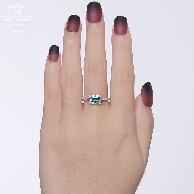 Lab Emerald Engagement ring Baguette diamond wedding ring women vintage Unique Alternative Birthstone Bridal jewelry, gift for her
