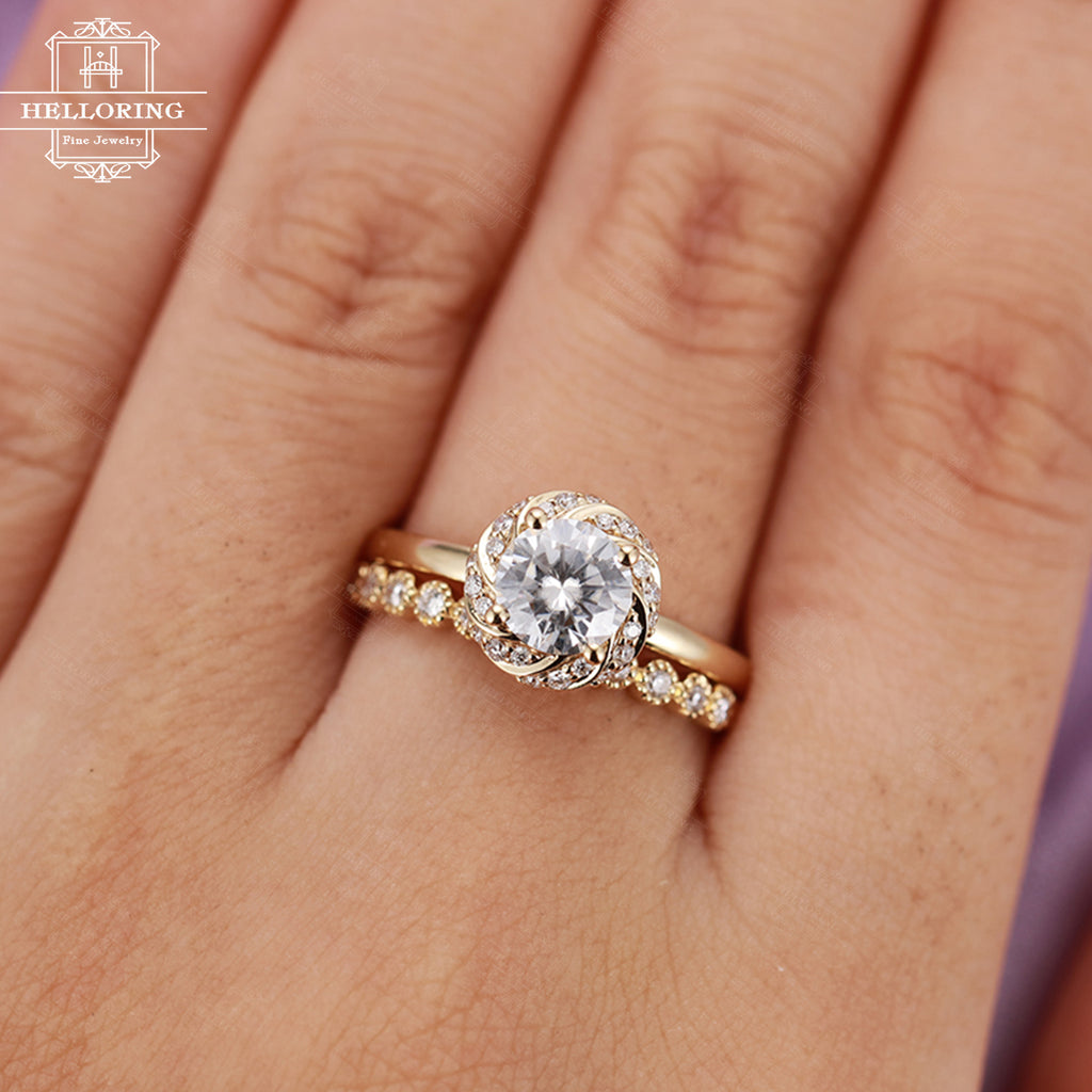 Alternative Moissanite engagement ring set vintage Unique Half eternity diamond wedding band women Flower Delicate Antique Anniversary gift