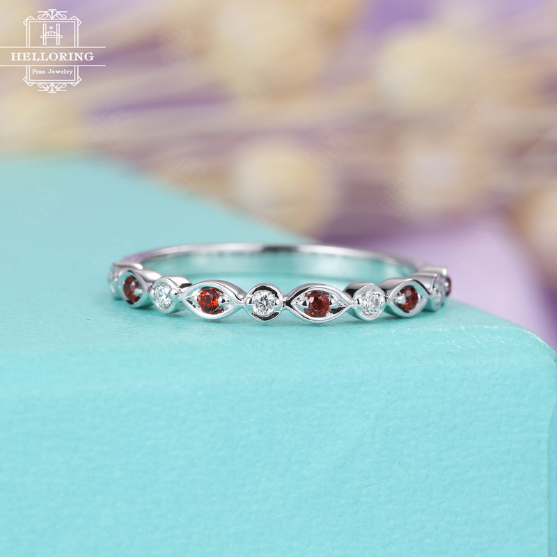 Garnet Wedding Band Vintage Unique wedding band Women Antique Diamond Half Eternity Bridal Set Matching Stacking Anniversary gift for her