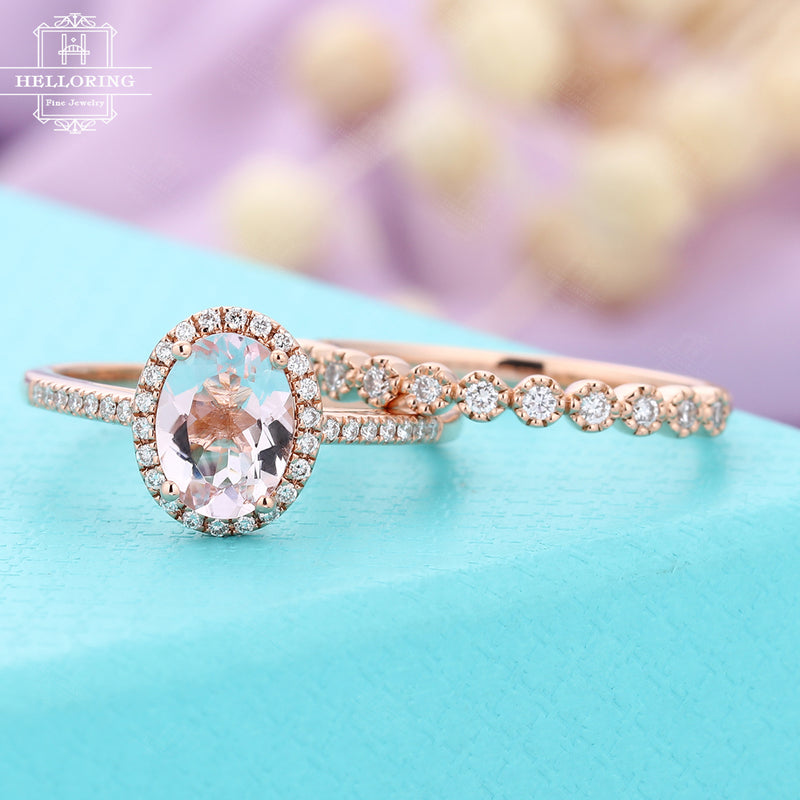 Rose gold Morganite engagement ring oval out Vintage Halo Diamond Wedding band women Antique Art deco Bridal set Half Eternity Anniversary