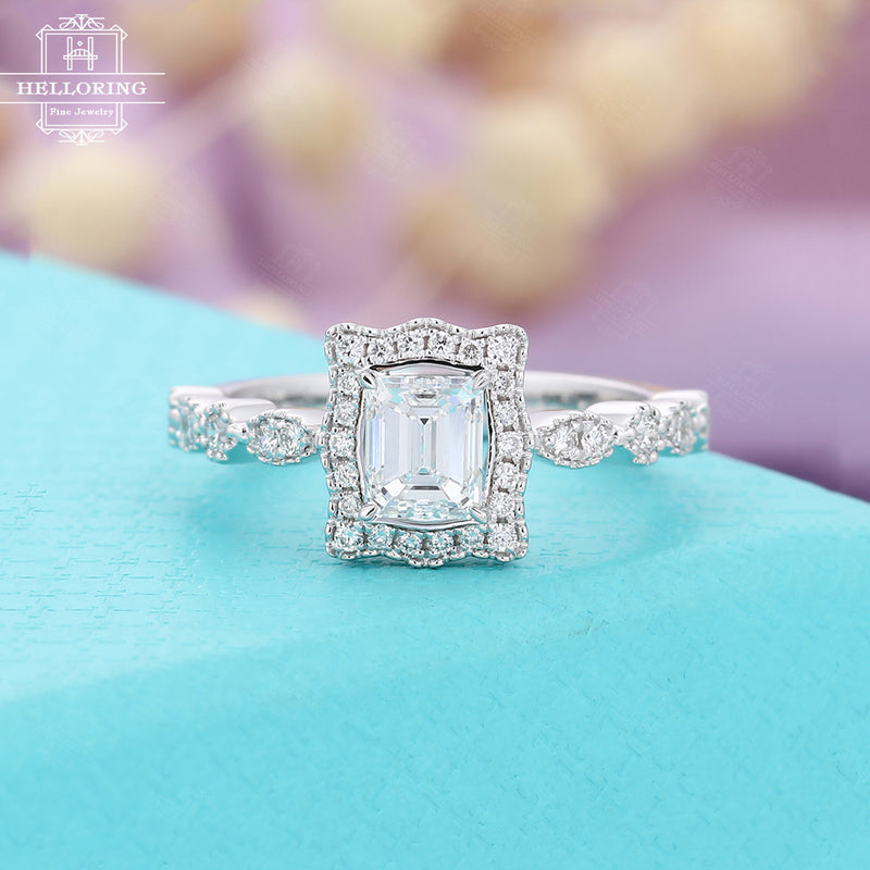 Moissanite engagement ring white gold for women,Vintage Emerald cut ring,Art deco milgrain Jewelry,Halo diamond ring, Anniversary for her