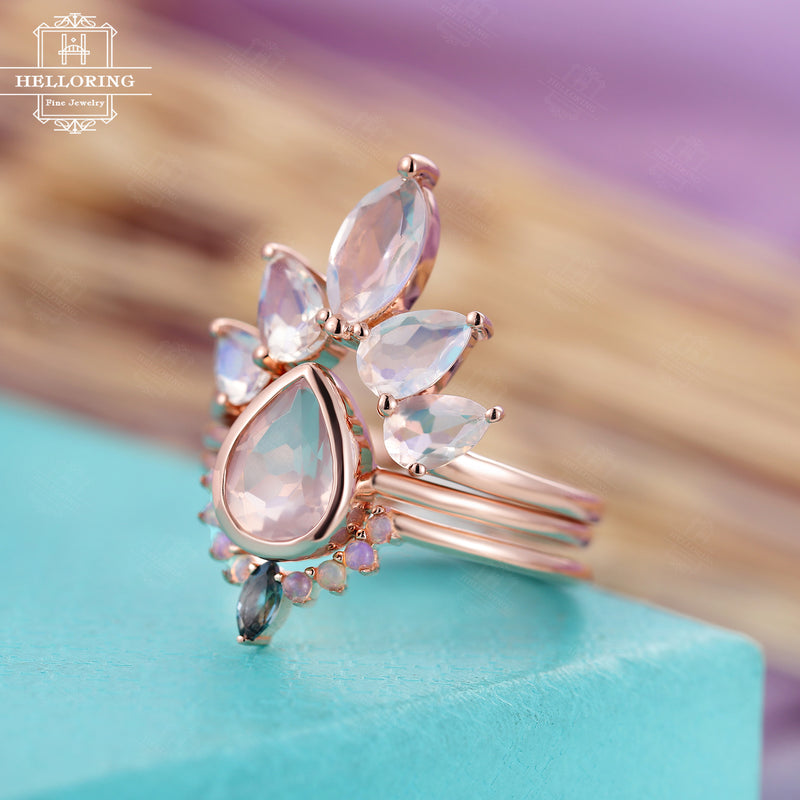 3PCs Engagement ring set for Women Pear shaped Rose quartz Curved wedding band Rose gold Marquise Moonstone London blue Topaz Opal Jewelry