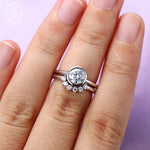 Solitaire Moissanite engagement ring Curved diamond wedding band Women Bridal set Jewelry Anniversary gift for her Matching Stacking Promise