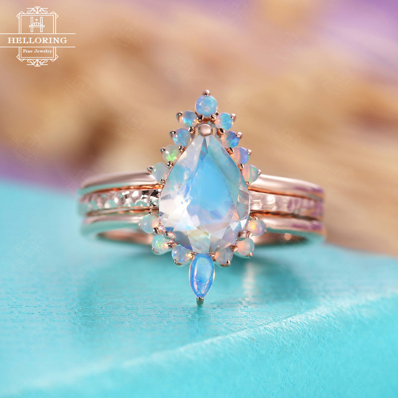 Moonstone engagement ring set rose gold, Pear shaped wedding ring women, Marquise opal birthstone, Anniversary gift for her Promise jewelry