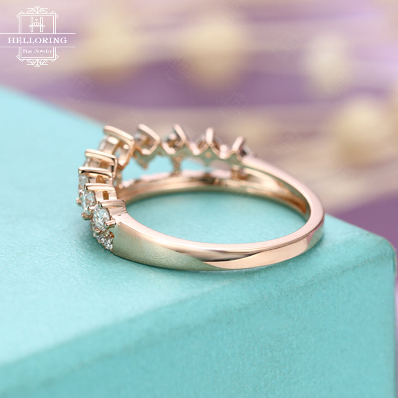 Unique diamond engagement ring Crown Diamond wedding band women Bridal Jewelry Alternative Double Half eternity Mini Tiara Stacking Promise