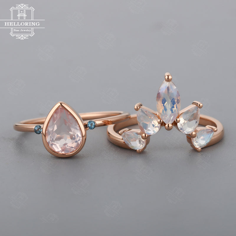 Rose quartz engagement ring set Women Moonstone wedding band Rose gold London Blue Topaz Jewelry Pear shaped Marquise cut ring Gift for her