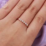 Diamond wedding band Unique wedding band Women Simple Vintage Antique Matching Stacking Promise ring Anniversary gift for her Bridal Jewelry