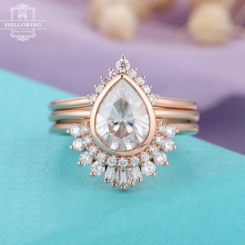 3PCs Moissanite Engagement ring set, Rose gold Vintage Diamond Wedding band, Pear shaped and Baguette cut, Gift for her