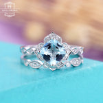 Aquamarine engagement ring set white gold Antique Vintage wedding band cushion cut Flower Diamond women Art deco Promise Gift for her