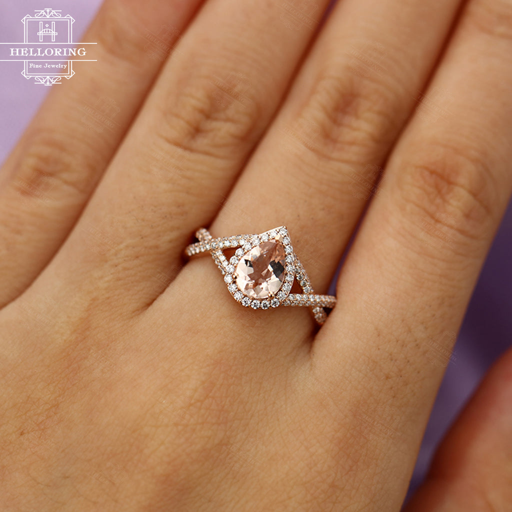 Morganite engagement ring Pear shaped engagement ring Rose gold Women Wedding Halo diamond Jewelry Gift for her Bridal Anniversary Twisted