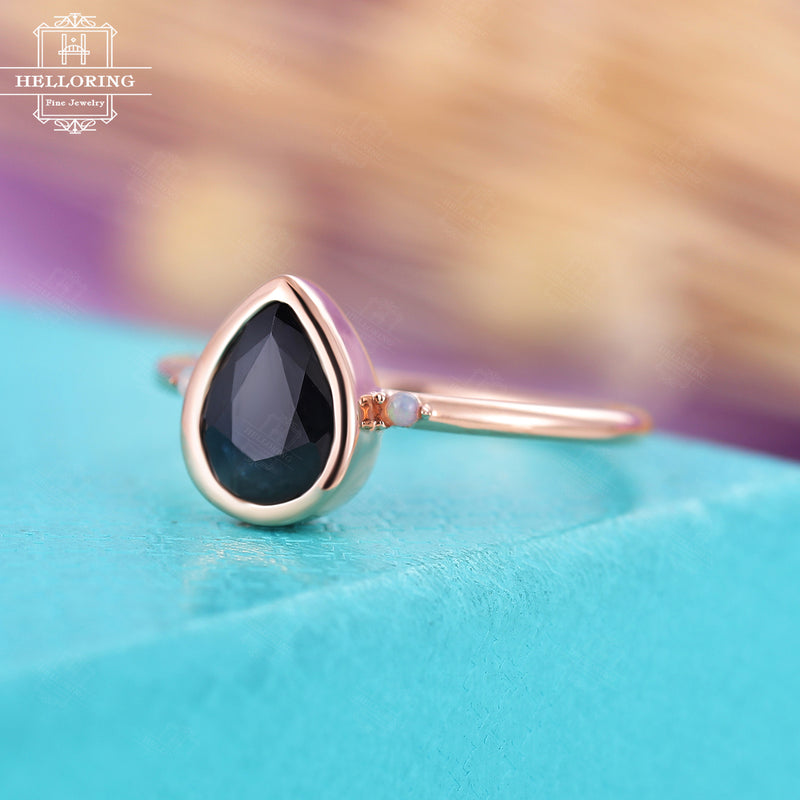 Vintage black sapphire engagement ring, Pear shaped,opal ring women, Rose Gold, simple bezel set,Bridal Jewelry Anniversary gift for her