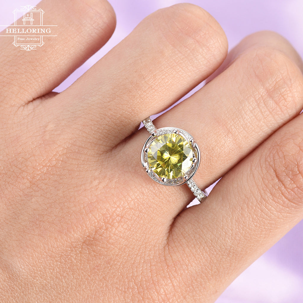 Yellow moissanite engagement ring Unique engagement ring Women Vintage Antique Diamond Bridal Jewelry Anniversary gift for her Half eternity