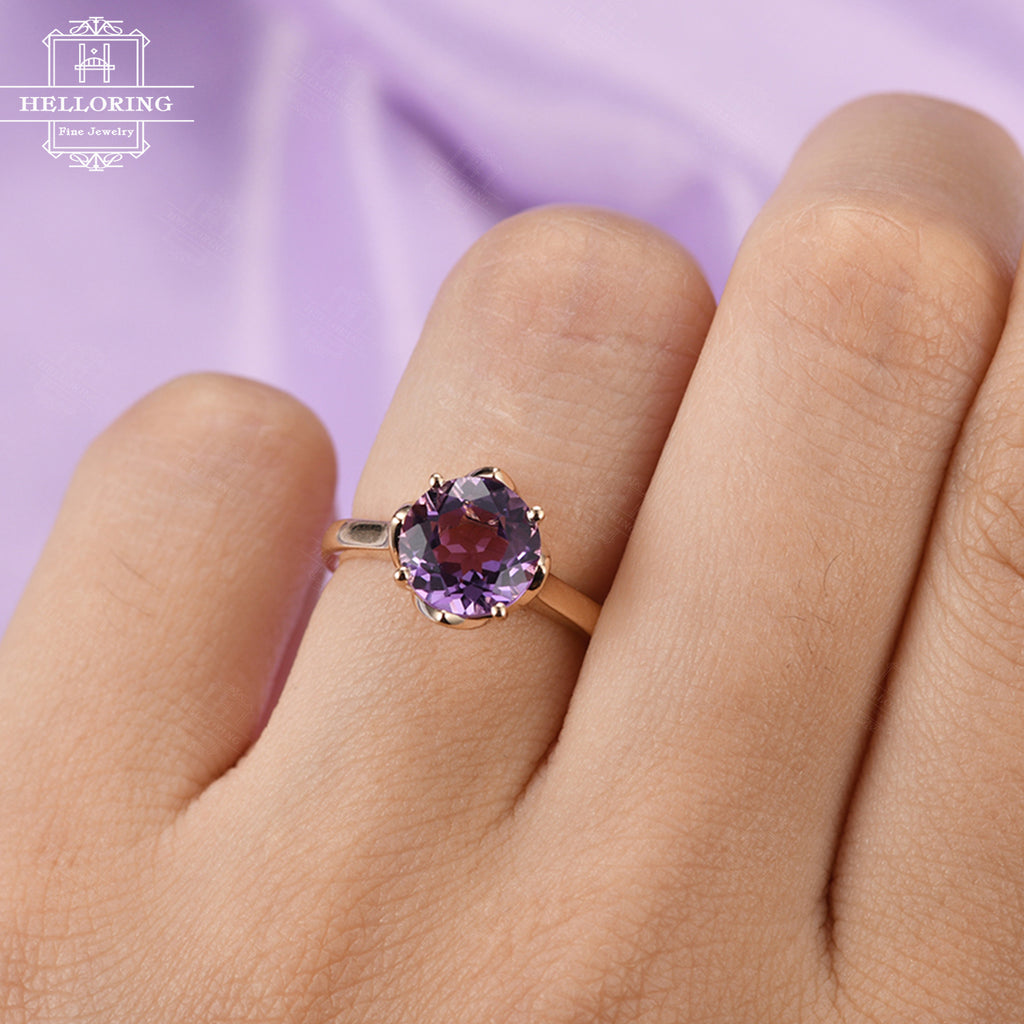 Vintage engagement ring Amethyst engagement ring Rose gold Women Antique Wedding Solitaire Bridal Jewelry Matching Promise Anniversary gift