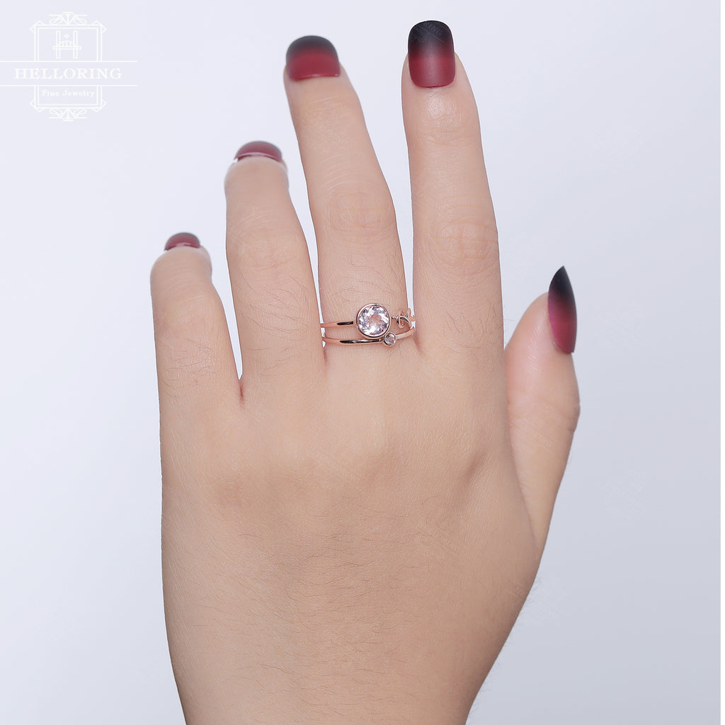 Unique Engagement Ring set Morganite Rose Gold Wedding Women Bridal Jewelry Love knot Stacking simple Delicate ring anniversary gift for her