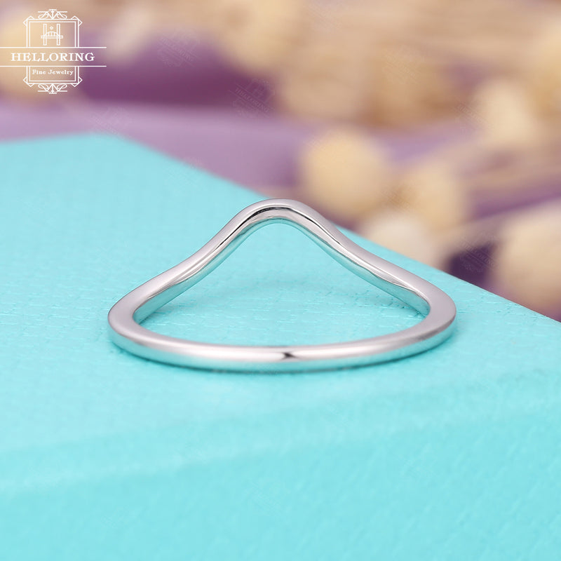 Curved wedding band Women Plain gold ring Minimalist Delicate Simple Dainty Chevron Stacking Matching Bridal Jewelry Anniversary gift Solid