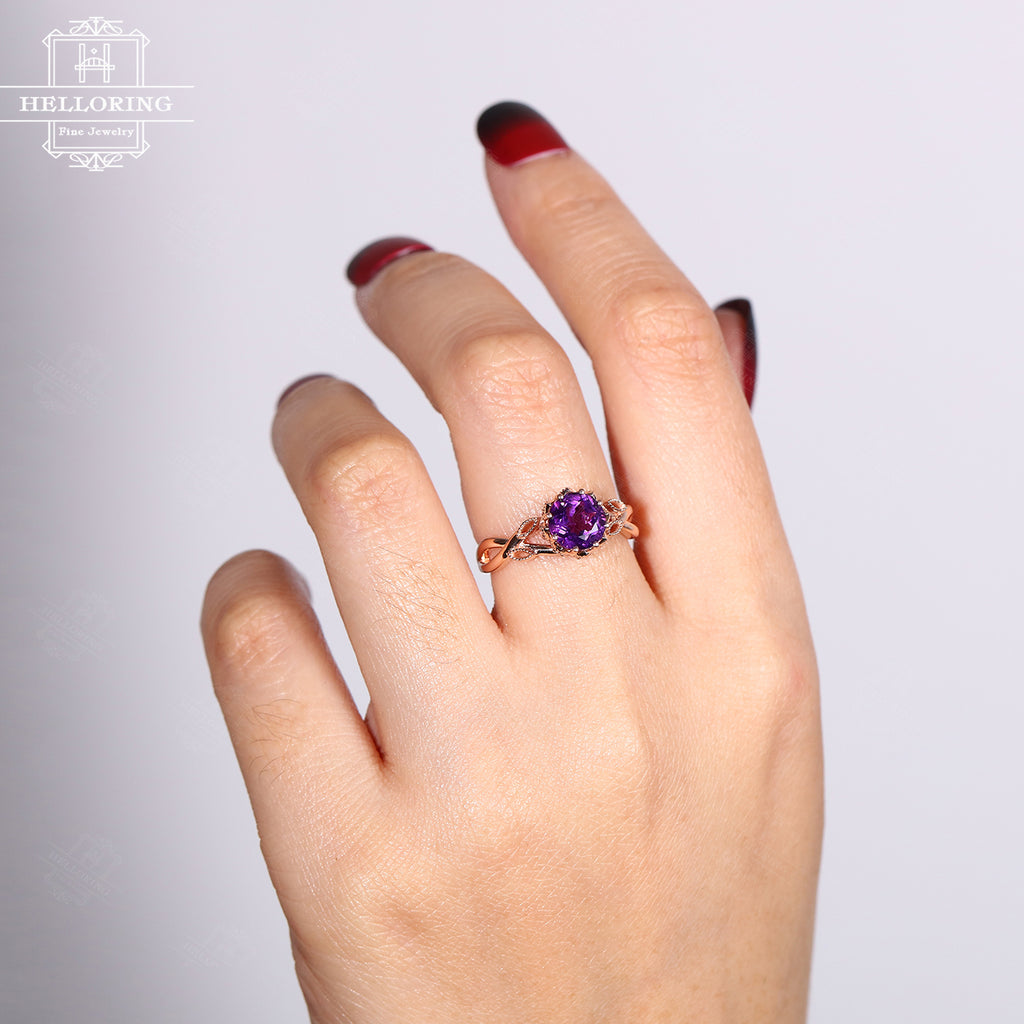 Amethyst engagement ring Rose gold Vintage engagement ring Women Wedding Diamond Milgrain Leaf ring Jewelry Gift for her Bridal Anniversary
