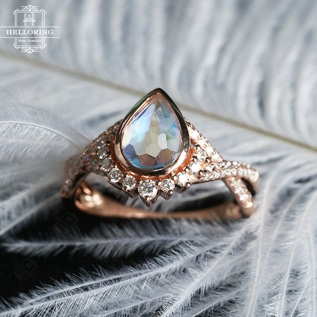 Moonstone engagement ring Rose gold engagement ring Women Wedding Diamond/Moissanite Vintage Pear shaped Twisted Bridal Jewelry Gift for her