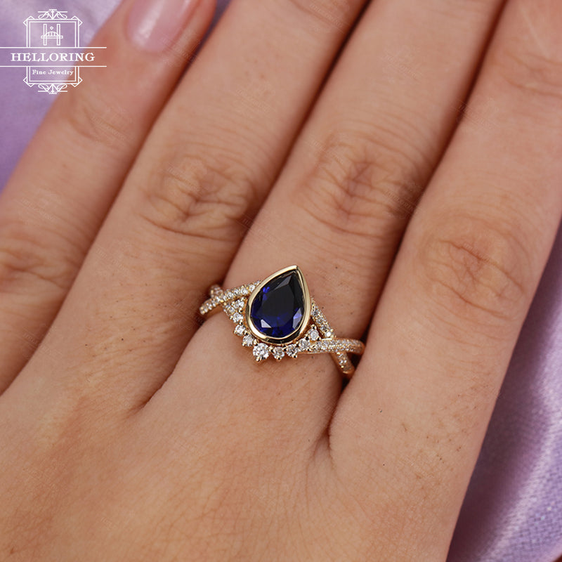 Blue sapphire engagement ring Pear shaped engagement ring Women Wedding Diamond Vintage Antique Bridal Jewelry Anniversary gift Twisted band