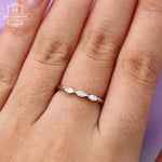 Marquise cut diamond wedding band Women Curved Unique Stacking Matching Simple Delicate Dainty Jewelry Anniversary gift for her Three stones