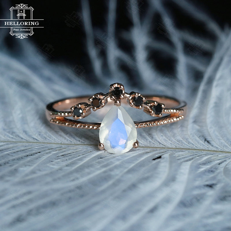 Rose gold engagement ring Women Wedding Moonstone Black diamond Pear shaped Milgrain Jewelry Promise Anniversary ring Unique gifts for her