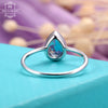 London Blue Topaz engagement ring rose gold Wedding Women Bridal Jewelry Simple Pear Shaped Cut Stacking Tear Drop Promise Anniversary gift