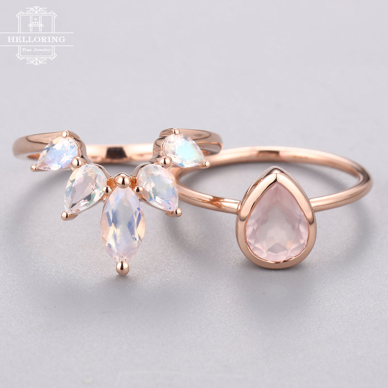 Rose quartz Engagement ring set Rose gold Pear shaped Curved wedding band Marquise cut Moonstone Bridal Jewelry for Women Anniversary gift