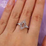 Marquise cut Engagement ring Setting Diamond Semi mount Women Milgrain Personalized Custom Bridal Jewelry Antique Art deco Leaf Gift for her