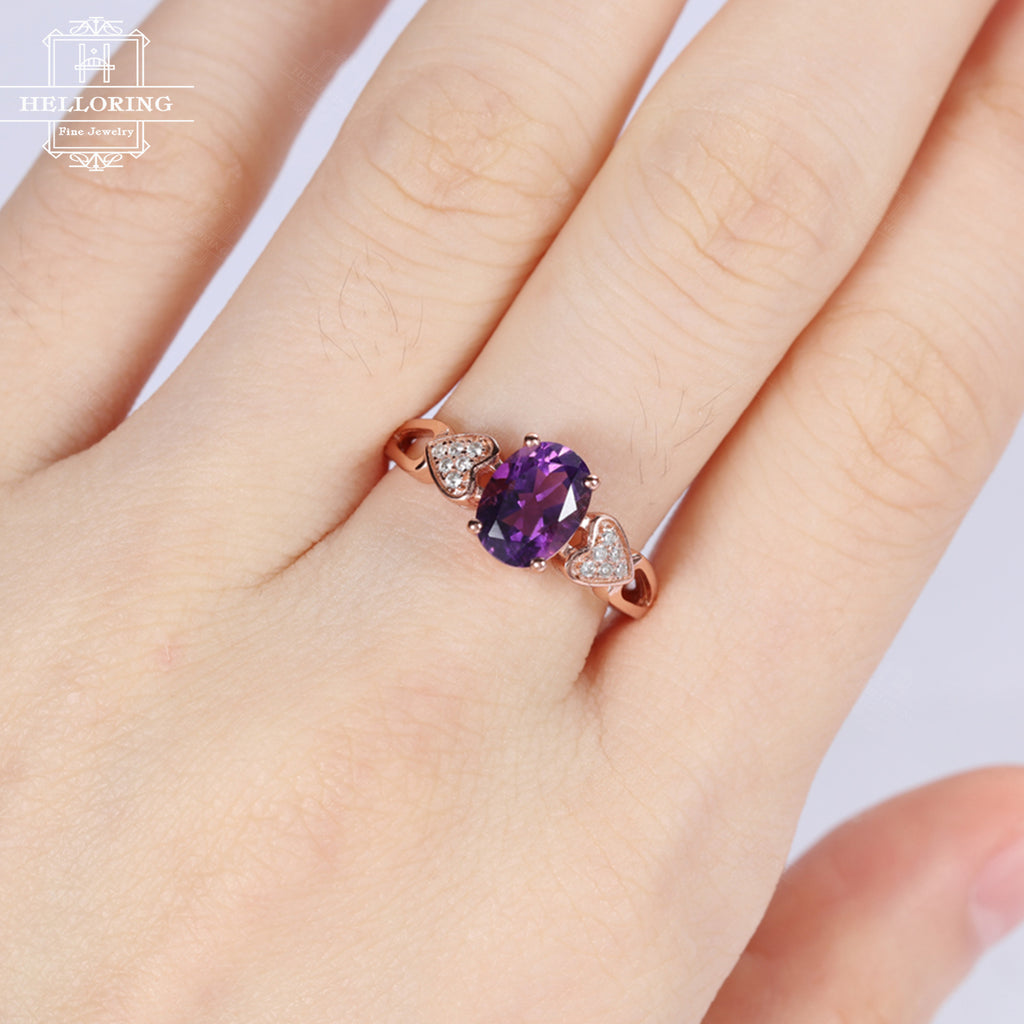 Unique engagement ring, Amethyst engagement ring, Rose gold ,Wedding Women Oval cut, Heart Bridal Jewelry Anniversary gift for her