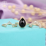 Pear shaped engagement ring set rose gold women,Vintage black onyx wedding ring,Baguette diamond Curved Chevron jewelry,Unique gifts for her