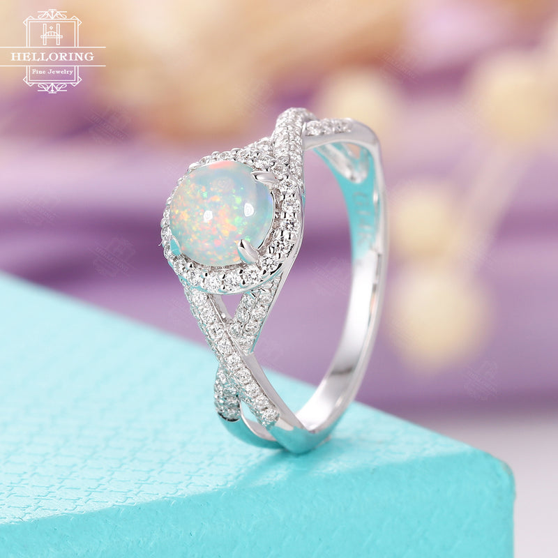 Opal engagement ring white gold women,Vintage halo diamond wedding ring,Anniversary gifts for her,Micro pave Jewelry Half eternity Prong set