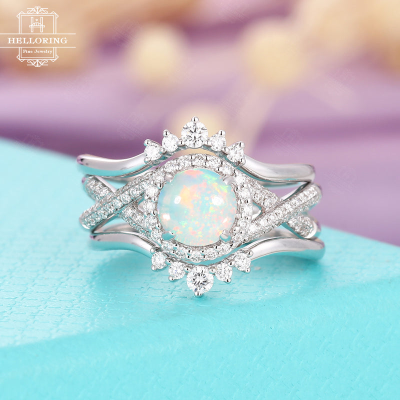 Opal engagement ring set vintage white gold women,Halo set diamond wedding ring,Unique Anniversary gifts for her,Stacking ring Half eternity